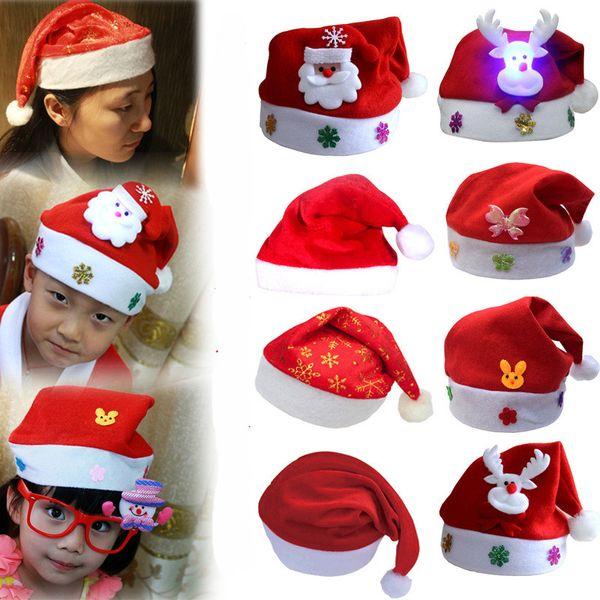 Cartoon LED Light Christmas Hat Red Santa Claus Snowman Elk Luminous Hat Xmas Decoration Adult Kids Christmas Headwear Festival Party Supply
