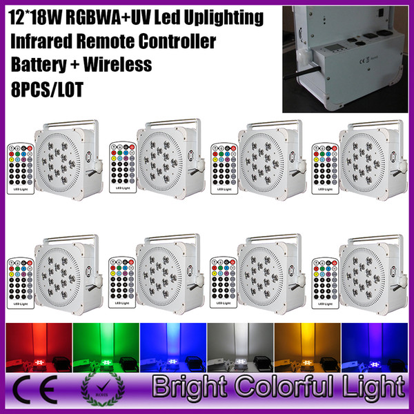 8XLOT High power brightness led battery operated & wireless dmx led par light with Infrared controller 12*18W RGBWA UV