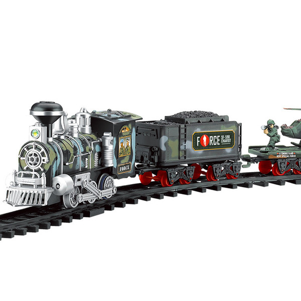 Classic Train Set for Kids with Smoke Realistic Sounds Light Remote Control Railway Car Train Christmas New YearGift Toy