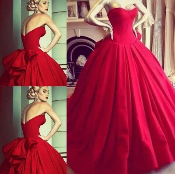 Red Sweetheart Ruched Satin Formal Evening Party Dresses 2019 Elegant Sexy Low Back Women Formal Ball Gown Prom Dresses