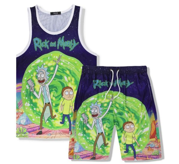 Rick and Morty 3D Print Tank Tops And Beach Shorts Men's Muscle Shirt Vest Loose Shorts For Men/Women Couple Holidays Clothing