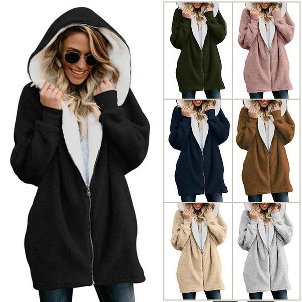Plus Size Women Sherpa Coat Winter Fleece Jacket Full Zip Outwear Hoodie Hooded Casual Coats Fuzzy Fur Wool Coat Sweatshirt Brand Design PB