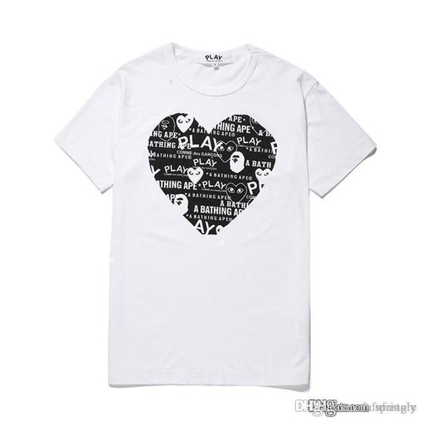 COM Nouveau Meilleure Qualité Blanc Coeur Noir Un Nouveau Chaud VACANCES JOUER Bain GARCONS T-shirt Ape Blanc Rouge Taille L prompt décision