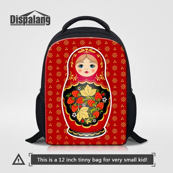 Red Russian Nesting Dolls Matryoshka Doll Prints Children Small Book Bag Cartoon School Bag for Kids Preschool Cute Satchel