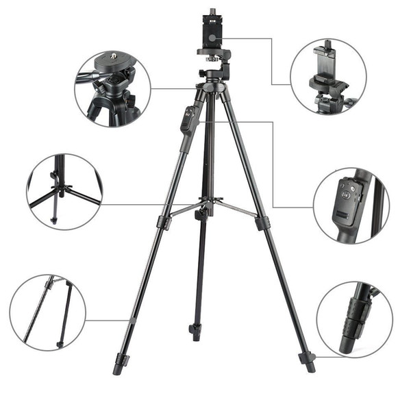 5208 professional Aluminum alloy dslr camera Tripod monopod with 3-Way Head/ Bluetooth Remote + clip for digital Camera Phone