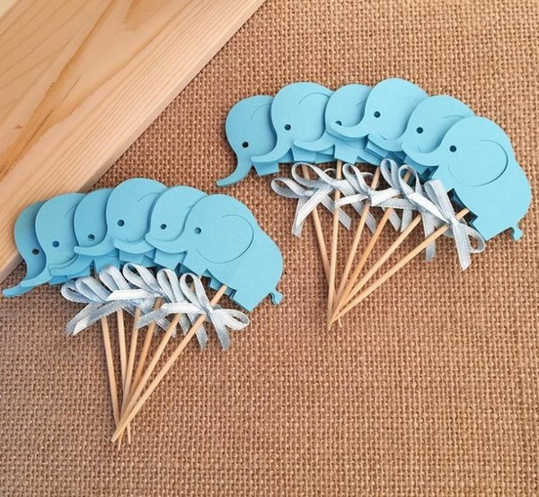 2018 Baby Shower Elephant Cupcake Toppers Double Sided Boy Birthday Party Favors Cake Decoration Food Picks Supplies