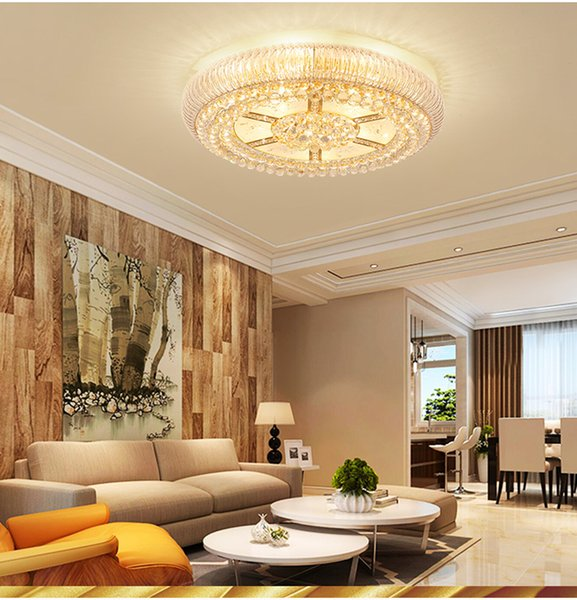 Bedroom round crystal ceiling light. E14 tri-color source. K9 crystal. S gold stainless steel chassis. Warm bedroom ceiling light