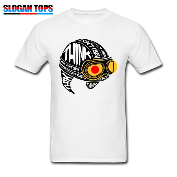 Geek Tops Men Tees Letter T-shirt Mens Thinking Helmet Print Tshirt Men White T Shirts Pilot Style Clothes Cotton Fabric Funny