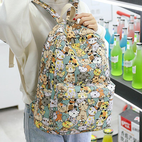 Cute cartoon printing backpack women School Backpacks Children canvas School Bags For girls boys Schoolbag kids Bag mini mochila