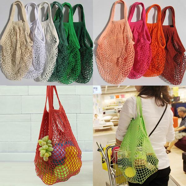 Kullanımlık Dize Alışveriş Meyve Sebze Bakkal Çanta Shopper Tote Mesh Net Dokuma Pamuk Omuz Çantası El Kılıf Ev Saklama Çantası WX9-365