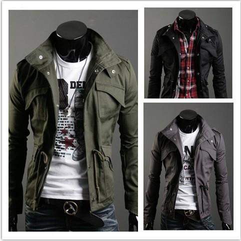 2018 New Slim Sexy Top Designed Mens Jacket Coat Turn Down Collar jaqueta Black Army Green Gray England Style NZ24 Dropshipping