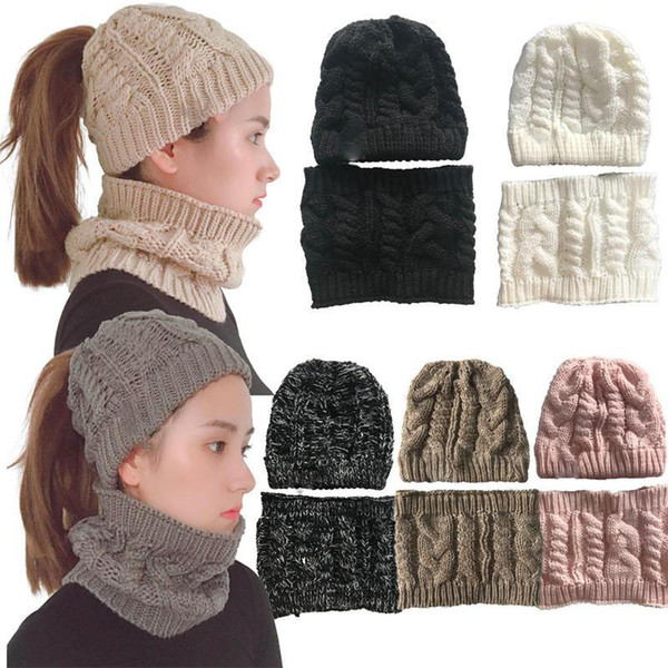 New girls hats withe scarve set women fashion winter warm crochet cap and scarves suit solid pure color knitting ring scarves
