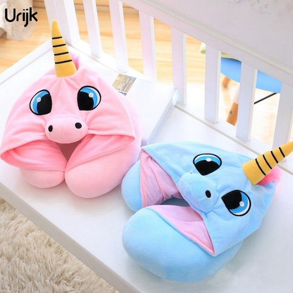 Urijk 1PC Cartoon Animals Pattern Pillows for Adults Children U-shaped Horse Neck Pillow Office Travel Fashion Neck Body Pillows
