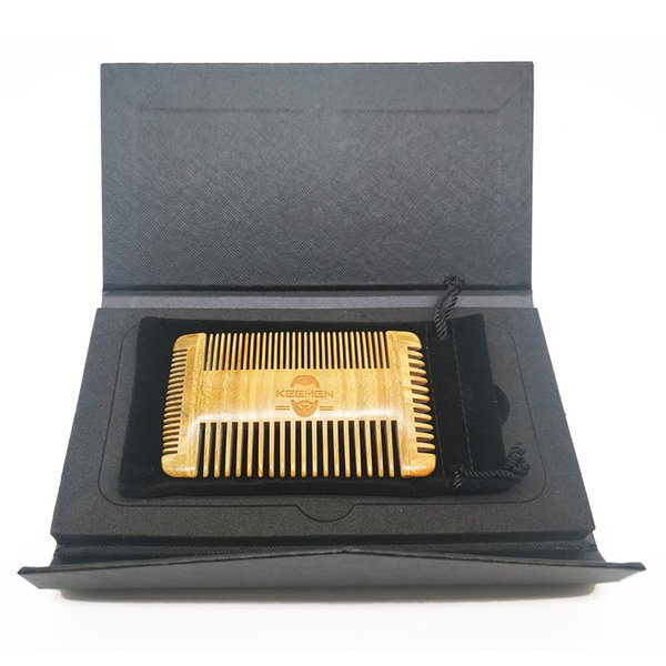 Your LOGO Customized Top Quality Newest 4 Edged Multifunction Coars & Fine Tooth Green Sandalwood Combs for Men Beard Hair with Gift Box
