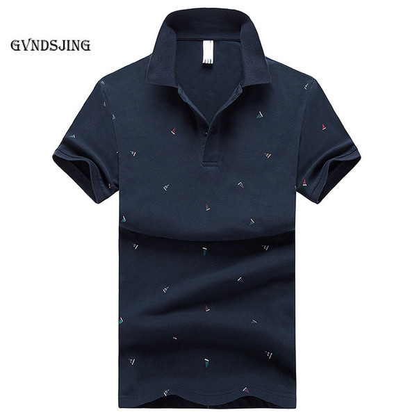 GVNDSJING Brand s Mens Printed  Shirts Cotton Short Sleeve Summer s Casual Stand Collar Male  Shirt blue white
