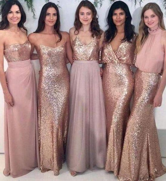 Meerjungfrau viele Stile Rose God Pailletten Brautjungfer Kleider Differents Styles gleiche Farbe