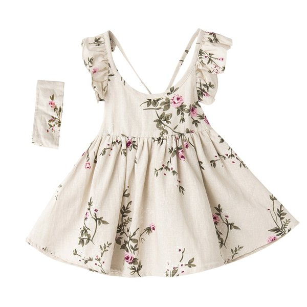 baby girls dress summer toddler kids hair band floral print backless party princess dresses children clothing linen girl costume