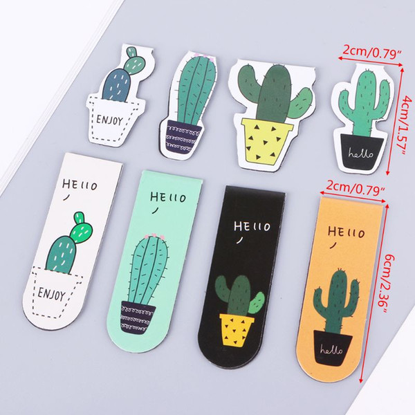 top popular Poplular Cute Cactus Magnetic Bookmarks Book Page Marker Student Stationery Supplies Gift 2021
