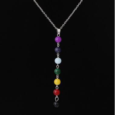 7 Yoga Chakra Stone Beads Pendant Necklace Yoga Reiki Healing Balancing Necklaces for Women Buddha Bead Necklace 7 Chakra Necklace