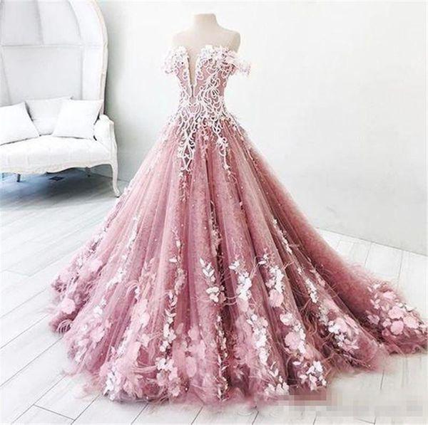 Großhandel Dusty Pink Aus Der Schulter Prom Kleider Lang Mit Flora ...