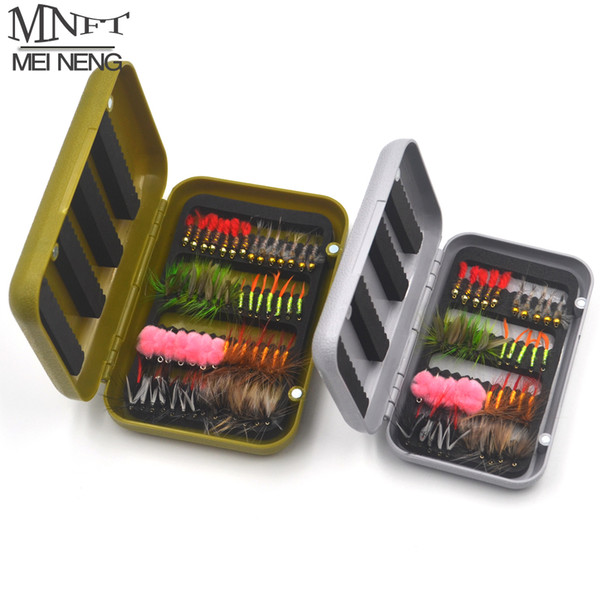 MNFT 1 Set (40/56PCS) Assorted Fly Flies Lure Artificial Imitation Insects Style Fishing Hooks Fies Dry/Wet Nymph Bait In Box