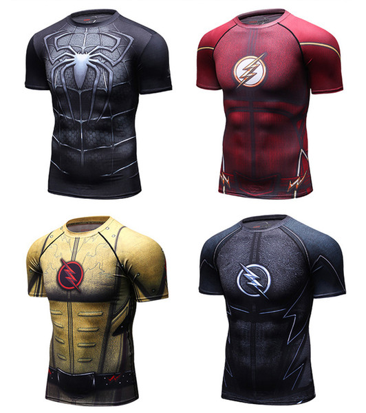 New Men sport T shirt Fashional Yoga High Quality Fitness Mens Compression short sleeve Bodybuilding Tight Tops Quick drying Free Shipping