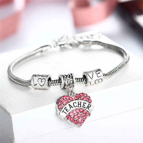 New Arrival Fashion Jewelry Pink & White & Blue Crystal Heart Teacher Charm Bracelet Snake Chain Love Beads Bracelet Teacher's Day Gifts