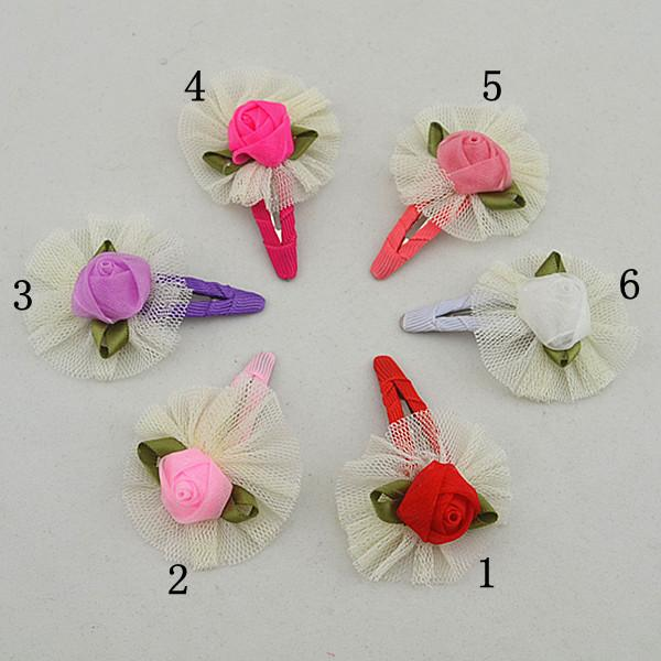 12pcs high-quality lace and satin face rose polygonal flower hairpins of the children hair clips of the baby FJ040
