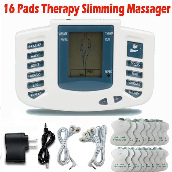 Vente chaude Stimulateur Électrique Complet Du Corps Relax Muscle Thérapie Massager Massage Impulsions des dizaines Acupuncture Soins de Santé Machine 16 Plaquettes