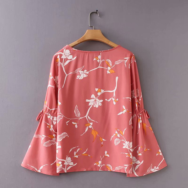 95846a1e1a7be 2019 Wonder 2018 Women Vintage O Neck Floral Print Casual Slim Elegant Chic  Blouse Shirt Women Flare Sleeve Bowknot Brand Blusas Tops From Cety, ...