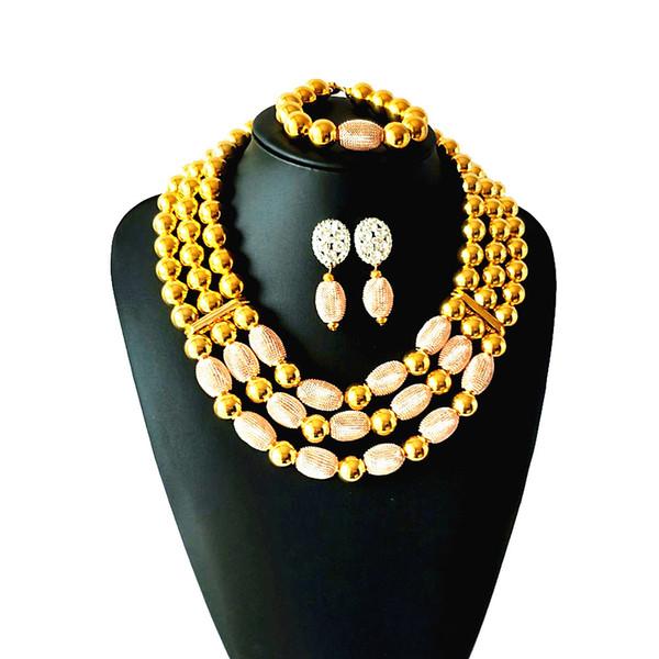 La venta caliente Dubai Gold Jewelry Set Nigerian Indian Wedding Sets de joyería africana nupcial accesorios joyería collar envío gratis