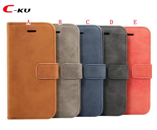 Retro Sheep Flip Wallet Leather Pouch Case For Samsung Galaxy S9 PLUS NOTE 9 Crazy Horse Stand TPU ID Card Phone Mad Skin Cover Luxury 50pcs