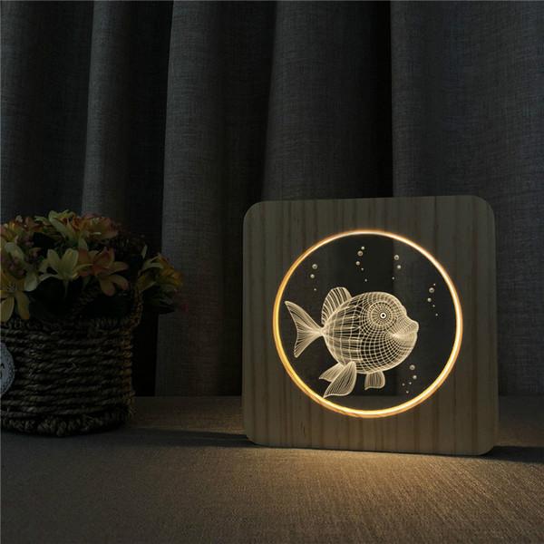 Lámpara 3D Goldfish Animal de madera Modelo de talla de madera de la energía LED luz nocturna USB Luz, Mesa de LED Desk Inicio decoración del dormitorio de la lámpara