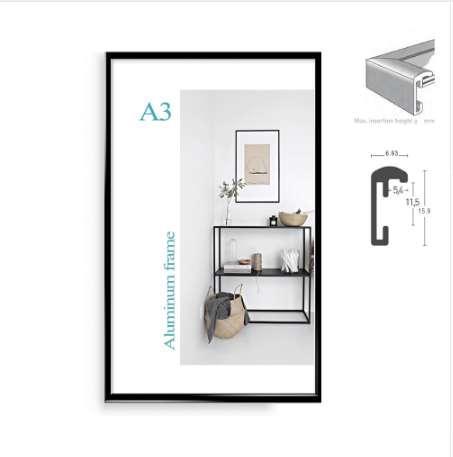 Alumínio clássico minimalista A4 A3 quadro de cartaz para a parede de metal pendurado moldura de armação de certificado