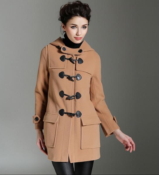 High Quality Korean Design Woolen Coats Autumn Winter Women Clothes Long Sleeve Horn Button Wool & Blends Loose Outerwear Jacket With Hooded
