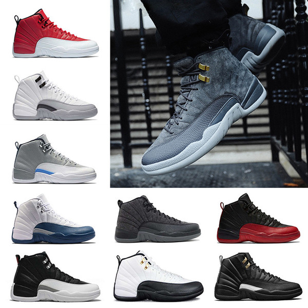 2018 cheap basketball shoes shoes 12 wool obsdn Blue Suede man TAXI Playoff ovo white Gym cherry RED Varsity RED sneaker us5.5-13