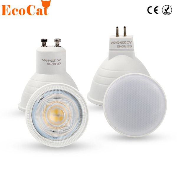 Kedi spot ışık GU10 6W 220V MR16 120 2W 4W Spotlight Sıva Masa Lambası için ampul LED lamba COB Chip Işın Açısı led