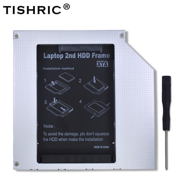 "TISHRIC Aluminum Universal BayIDE to SATA 3.0 2nd HDD Caddy 9.5mm 2.5""SSD Case HDD Enclosure For Laptop ODD CD DVD ROM Optical"