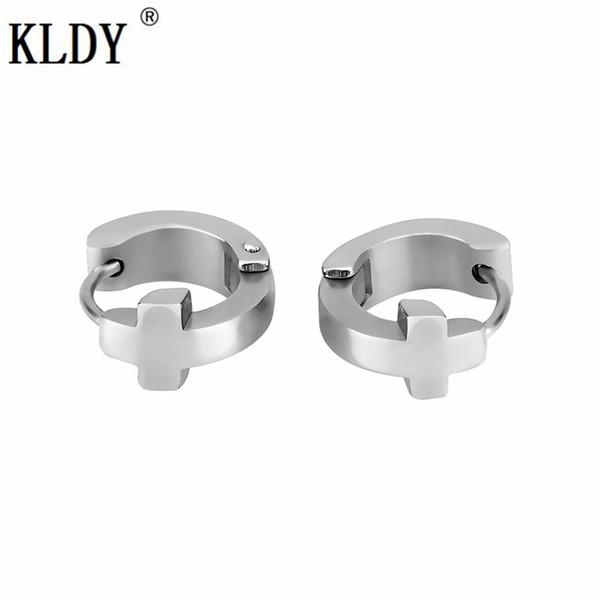 KLDY silver earrings for women punk cross men hoop earrings cool stainless steel Korea small jewelry wholesale free shipping