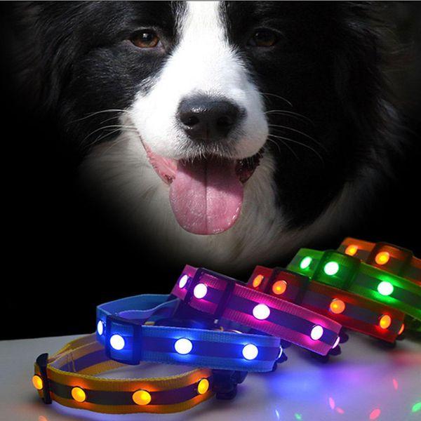 New Pattern 2.5cm*31cm-47cm Adjustable Flashing Glowing Gem Light LED Pet Dog Collar Adjustable Small Pet Luminous Safety Collar Supplies