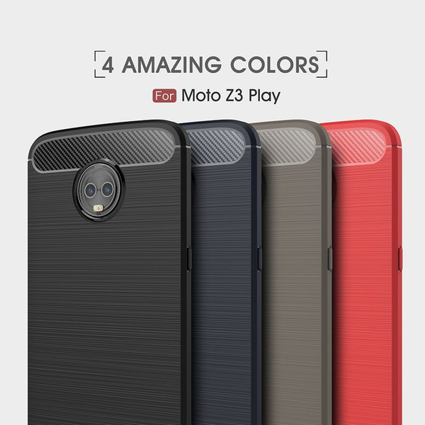 10PCS 2018 New CellPhone Cases For Motorola Z3 Play Carbon Fiber heavy duty case for MOTO Z3 Play backcover Free shipping