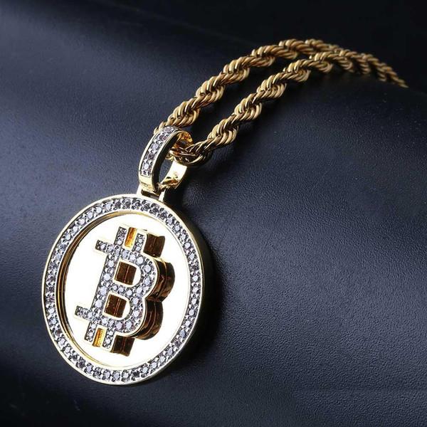 Hip Hop Iced Out Collar chapado en Bitcoin color oro Micro Pave Zircon con cadena de cuerda de 60cm
