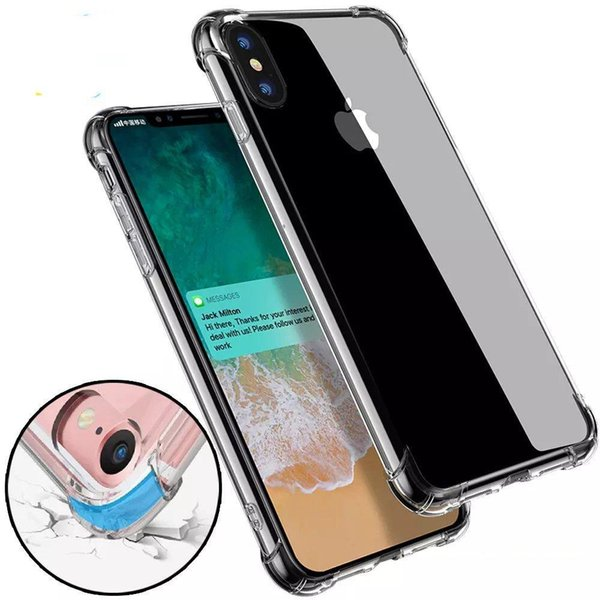 2018 Custodia antiurto trasparente per iPhone X 8 7 6 6S Plus Cover in gel morbido TPU Cover posteriore trasparente per Samsung S8 S8Plus DHL