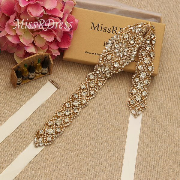 MissRDress Luxury Bridal Belt Elegant Gold Crystal Jeweled Rhinestones Pearls Wedding Sash For Bridal Gown YS829