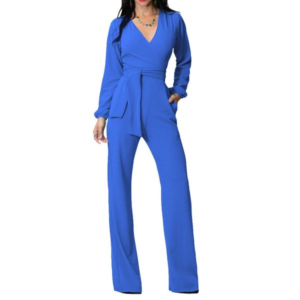2018 Autumn Sexy Long Sleeve Rompers Womens Jumpsuit Elegant Office Ladies V-Neck Body Mujer One Piece Long Playsuit Overalls