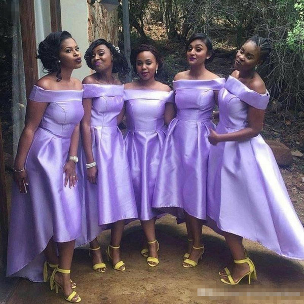 Nigeria Lavender Bridesmaid Dresses For Wedding Satin Off Shoulder Plus Size Maid Of Honor Gowns South African High Low Bridesmaid Dress