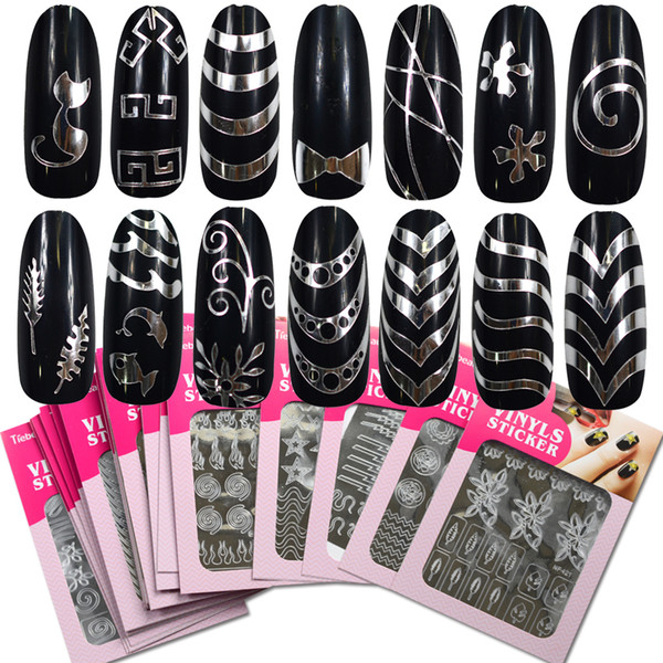 1 Sheet New Stamping Nail Art 3D Hollow Sticker Laser Silver Vinyl Grid Paern Template Stencil Guide Manicure BENF413-436S