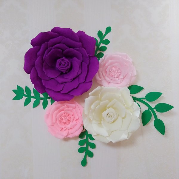 4 Stück Assorted Crepe Papier Blume Set Matched Blätter Gallery Wall Decor Kinderzimmer Mädchen Zimmer Floral Kinderzimmer Dekorationen Home Decor