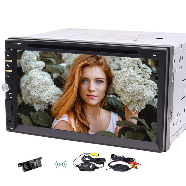 Free Wireless Camera Included!! Universal Double Din Car Stereo In Dash car DVD Player 7-Inch Capacitive Touch Screen Car Radio MP5 Player