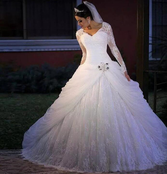 2018 Vintage Wedding Dresses Lace Long Sleeves Square Neck Wedding Gowns with Sash Pick Ups Bridal Dresses China